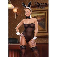 Sexy bunny body Queen size. Captivating soft jet black mesh.  #bunny #lingerie #queen #black #magicsilk #erotouch