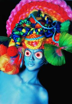 Avant Garde Colorful Headdress by PoshFairytaleCouture on Etsy. And this Etsy store is fantastic!