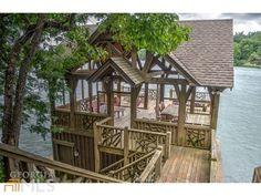 beautiful dock on Lake Burton. Lake Dock, Lake Beach, Boat Dock, Outdoor Rooms, Outdoor Living, Dock House, Lakeside Living, Lakefront Property, Lake Cabins