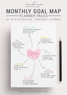 Goal Planner Pack, 12 Pages, Printable | Created by @IndigoPrintables  Your goal planner will help you map out your goals for the year ahead and keep track of them, so you can focus on getting stuff done. Create a mind map of your goals for the month ahead, and or break them down your big monthly goal into bite sized action tasks. :::::::::::: WHAT'S INCLUDED :::::::::::: Your Printable Planner comes in A4, A5 and Letter size and contains: #1 PDF: Goal Planner Pages (12 pages) #2 PDF…