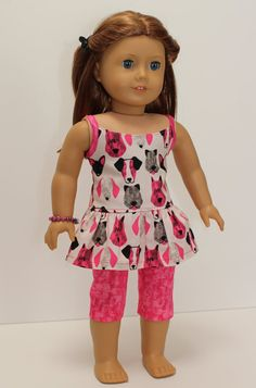 American Girl doll clothes - Kennel Club Pretty in Pink: Capris, top, bracelet