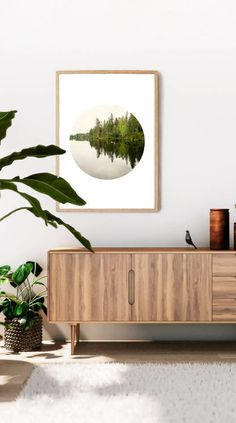 Scandinavian wall art print bringing a bit of nature into your home. For more prints like this visit http://etsy.me/2EaBcT1 #art #printmaking #green #housewarming #blue #natureart #wallart #forest #artprints #homedecor