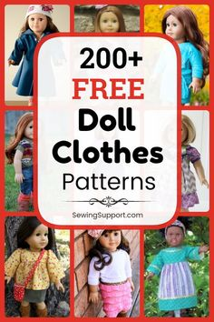 Over 220 free doll clothes sewing patterns & tutorials from all over the web - sew doll dresses, shoes, hats, vests, and more! Crochet Dolls Free Patterns, Doll Dress Patterns, Sewing Patterns Girls, Crochet Doll Dress, Crochet Barbie Clothes, Knit Dress, Barbie Clothes Patterns, Clothing Patterns, Ag Doll Hairstyles