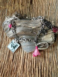 Horse and pink charm bracelet: equestrian bracelet by EquusFancy