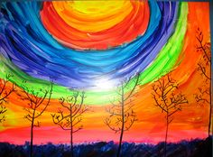 Silhouette Trees-Good color wheel and color mixing lesson! Only give students…