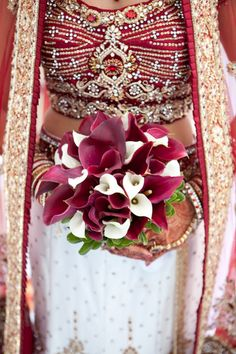 Indian wedding dress and bouquet