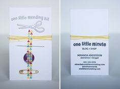 Alt Summit 2013 Business Card One Little Minute Blog One Little Mending Kit Business Cards // Alt 2013