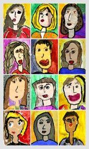 Tempera Paint Portraits - thinking of this for my humanities class beginning. Love the abstract qualities. Classroom Art Projects, Art Classroom, Kindergarten Art, Preschool Art, First Grade Art, Jr Art, Painting Collage, Paintings, Ecole Art
