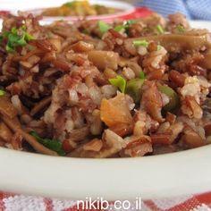 אורז אדום מלא עם אפונה וגזר / צילום : ניקי ב