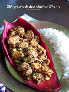 Chingri Mach dea Mochar Ghonto (Banana Blossom Curry with Shrimps) Banana Blossom, Banana Flower, Bengali Food, Indian Food Recipes, Ethnic Recipes, Red Chili Powder, South Indian Food, Garam Masala, Shrimp Recipes