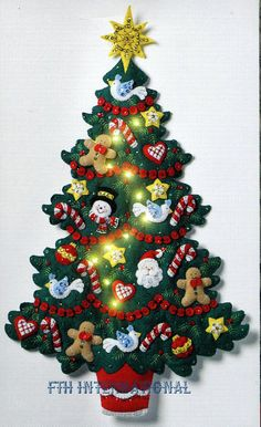 Details about Bucilla Merry & Bright Christmas Tree ~ Felt Wall Hanging Kit Real Lights Christmas Tree Advent Calendar, Christmas Tree And Santa, Christmas Wreaths, Christmas Crafts, Merry Christmas, Homemade Christmas, Christmas Wall Hangings, Felt Christmas Decorations, Felt Christmas Ornaments
