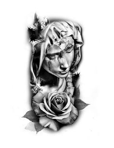 madonna virgin mary rose tattoo idea