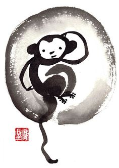 Monkey, Chinese Zodiac, Happy New Year of the Monkey 2016, Sumi Zen Painting, zen decor, japan illustration, childrens art, taoist feng shui