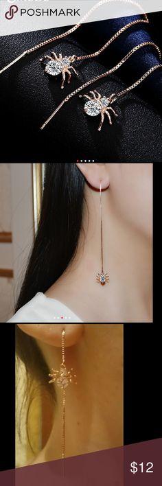 Spider Shaped Drop 18K Rose Gold Plated Earrings UMODE Spider Shaped Drop Earrings 18K Rose Gold Plated Round Cut AAA CZ Diamond Long Earrings For Women Jewelry Earrings