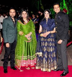 Dheeraj Deshmukh, Honey Bhagnani, Genelia D'Souza and Riteish Deshmukh at Arpita Khan's wedding reception in Mumbai. #Bollywood #Fashion #Style #Beauty #Handsome