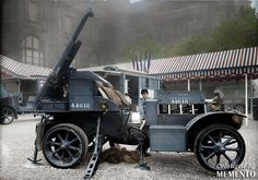 French 75 mm field gun used as truck mounted anti-aircraft artillery