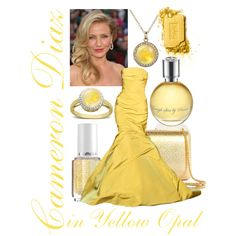 Cameron Diaz in Yellow Opal by itscindylou on Polyvore featuring Gucci, Ippolita, Lord & Taylor, Yves Saint Laurent, Essie, Monique Lhuillier, Avon, iridescent nail polish, gold clutch and yellow perfume