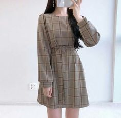 Korean Fashion Dress, Korean Dress, Kpop Fashion Outfits, Girls Fashion Clothes, Ulzzang Fashion, Korea Fashion, Korean Outfits, Fashion Dresses, Fashion Top