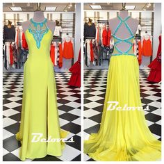 Yellow Halter Jewel Neck Slit Prom Dress With Cut Out Back