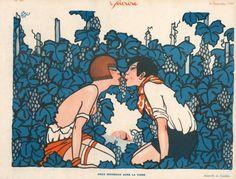 Jaquelux 1929 ''Deux Moineaux dans la Vigne'' Lover, Kiss, Sexy Girl Topless