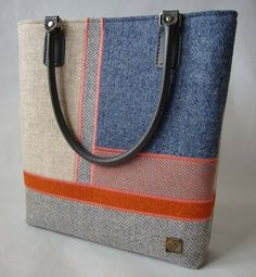 Large pastels Harris Tweed Bag Blue Jean Purses, Handmade Handbags, Bag Patterns To Sew, Harris Tweed, Knitted Bags, Pouch, Textiles, Tote Bag, Leather