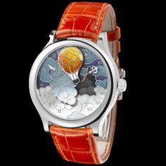 "Van Cleef & Arpels watch: Poetic Complication ""Five Weeks in a Balloon"" List Price, 2011: $100,000.00"