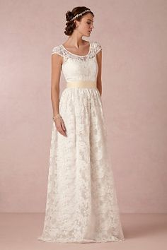 Cheap lace wedding dress, Buy Quality vestido de noiva directly from China wedding dress Suppliers: Vestidos De Noivas A-line Floor-length Lace Wedding Dresses Scoop Short Sleeves With Ribbons Sash Bride Gown Beach Wedding Dress Designer Wedding Gowns, Wedding Dresses For Sale, Anthropologie Wedding, White Gowns, Wedding Bride, Lace Wedding, Gown Wedding, Bhldn Wedding, Beautiful Gowns