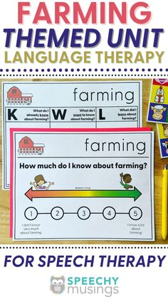 Have you ever wished you had a bundle of themed Speechy Musings resources at the ready for certain themes or times of year? Look no further! This themed language therapy unit includes a wide variety of materials and resources for your speech therapy students with language goals using a farming theme. Targets core vocabulary (help, eat), Basic concepts (dirty, full), Categories (food, farm animals), Describing (farm animals, farm tools, farmer), and more. #speechtherapy #farmactivities Receptive Language, Speech Language Pathology, Speech And Language, Sensory Activities For Autism, Speech Therapy Activities, Articulation Therapy, Articulation Activities, Teaching Autistic Children, Farm Tools
