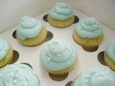 tiffany and company baby shower theme   Two Tier Tiffany & Co. Themed Baby Shower Cake and Cupcakes!
