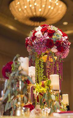Romantic floral centerpiece at the 2015 Disney's Fairy Tale Weddings & Honeymoons Showcase
