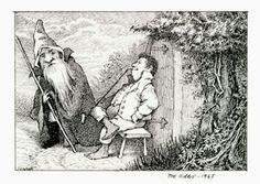 Bilbo and Gandalf, 1967 illustration by Maurice Sendak for 'The Hobbit' by J.R.R. Tolkein