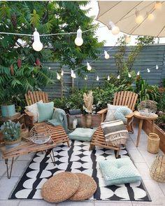 Small Outdoor Patios, Outdoor Spaces, Outdoor Gardens, Outdoor Living, Outdoor Decor, Ideas For Small Patios, Patio Ideas Simple, Outdoor Gym, Modern Gardens