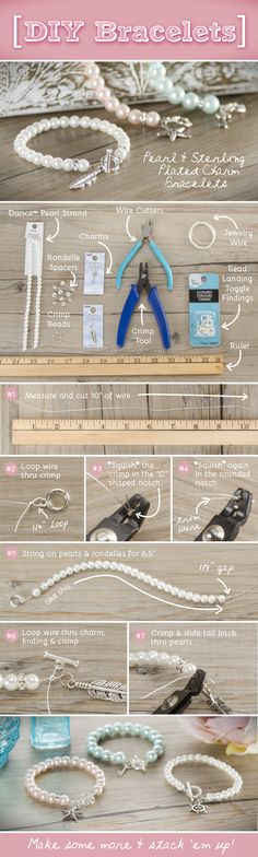 DIY Pearl Bracelet Jewelry using Charm Gallery charms available at @michaelsstores