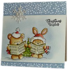I've used another couple of stamps from the newly released 'Carol Singing' set from Lili of the Valley . It's similar to yesterday's card,. Holiday Cards, Christmas Cards, Christmas Inspiration, Xmas Ideas, Diy And Crafts, Paper Crafts, Christmas Drawing, Digi Stamps, Lily Of The Valley