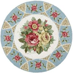 "Gorgeous Shabby Chic Victorian 8"" round area rug dollhouse miniature"