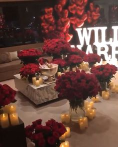 romantic dinner at home decorations Grand unforgettable marriage proposal Romantic Room Decoration, Decoration Chic, Light Decorations, Wedding Decorations, Red Wedding Receptions, Red Wedding Centerpieces, Wedding Events, Romantic Bedroom Decor, Anniversary Decorations