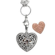 Open your heart to what you treasure the most while you brighten and lift your mood with our Silver Sentiments Filigree Heart Pendant look. Be transformed by the mood-enhancing power of scent when you use the Medium Rose Gold Moodology Heart Mood Disc Charm with your favorite Moodology 100% Pure Essential Oil Blend.