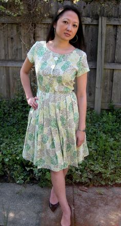 vintage 50s 60s day dress absolutely beautiful by lovestoryvintage, $45.00