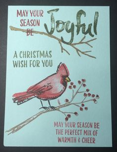 Joyful Season; outline cardinal, solid watercolor cardinal, cardinal beak, cardinal beak feathers, outline branch with berries, solid branch, berries; sentiments: may your season be the perfect mix of warmth & cheer, may your season be, joyful, a christmas wish for you