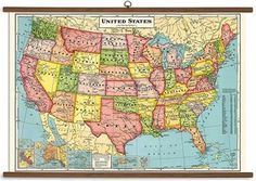 This vintage style USA map is reminiscent of old school classrooms. Whether you need something for the kid's playroom or the living room - its sure to get look