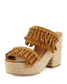Fria Knotted-Fringe Espadrille Slide, Raw Umber by Tory Burch at Neiman Marcus.