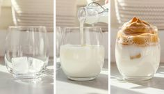 Vyzkoušeno za vás: káva Dalgona (Dalgona coffee) – Tchibo Glass Of Milk, Smoothie, Panna Cotta, Food And Drink, Cookies, Drinks, Ethnic Recipes, Cheesecake, Crack Crackers
