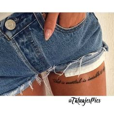 Get thousand ideas for your sexy tattoos. We present to you a selection of original tattoo designs ideas to bring you more inspiration for your tattoo. Girly Tattoos, Mini Tattoos, Sexy Tattoos, Body Art Tattoos, Tattoos For Women, Tatoos, Flower Tattoos, Thigh Script Tattoo, Thigh Tattoo Quotes