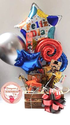 Birthday Hampers, Birthday Box, Birthday Gifts, Balloon Arrangements, Balloon Decorations, Wooden Centerpieces, Gift Wrapping Bows, Best Dad Gifts, Balloon Gift