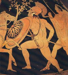 A sixty-four ray variant of the Pan-Hellenic Sun burst appears on a shield of a Greek soldier engaged in combat against a Persian cavalryman. The scene is from an Attic red-figure vase. - and the rest of Walt Disney, Greek Soldier, Greek Symbol, Mycenae, Greek Pottery, Minoan, Greek Art, Alexander The Great, Male Figure