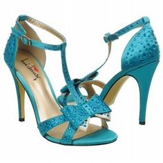 Luichiny Piper Zoe Sandal in turquoise with major sparkle rhinestone action! pew pew! Super cute dress shoes!