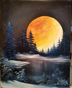 16 x 20 inch canvas original oil painting Unframed – leinwandkunst Black Canvas Paintings, Bob Ross Paintings, Black Canvas Art, Landscape Art, Landscape Paintings, Moon Painting, Canvas Painting Nature, China Painting, Winter Painting