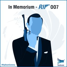 RIP Sir Sean Connery. Here's to the peerless spy... #Bond #Jamesbond007 #Jamesbond #Spy #SeanConnery #RIPSeanConnery #Hollywood In Memorium, Sean Connery, James Bond, Spy, Hollywood, Creative, Fictional Characters, Fantasy Characters