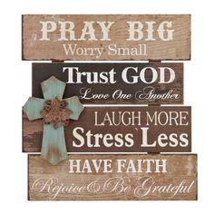 Pray Big Wood Plank Plaque   Kirklands