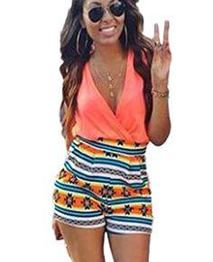 18e98b5db25c Women s V-Neck Floral Print Sleeveless Short Pants Jumpsuit Romper     For  more
